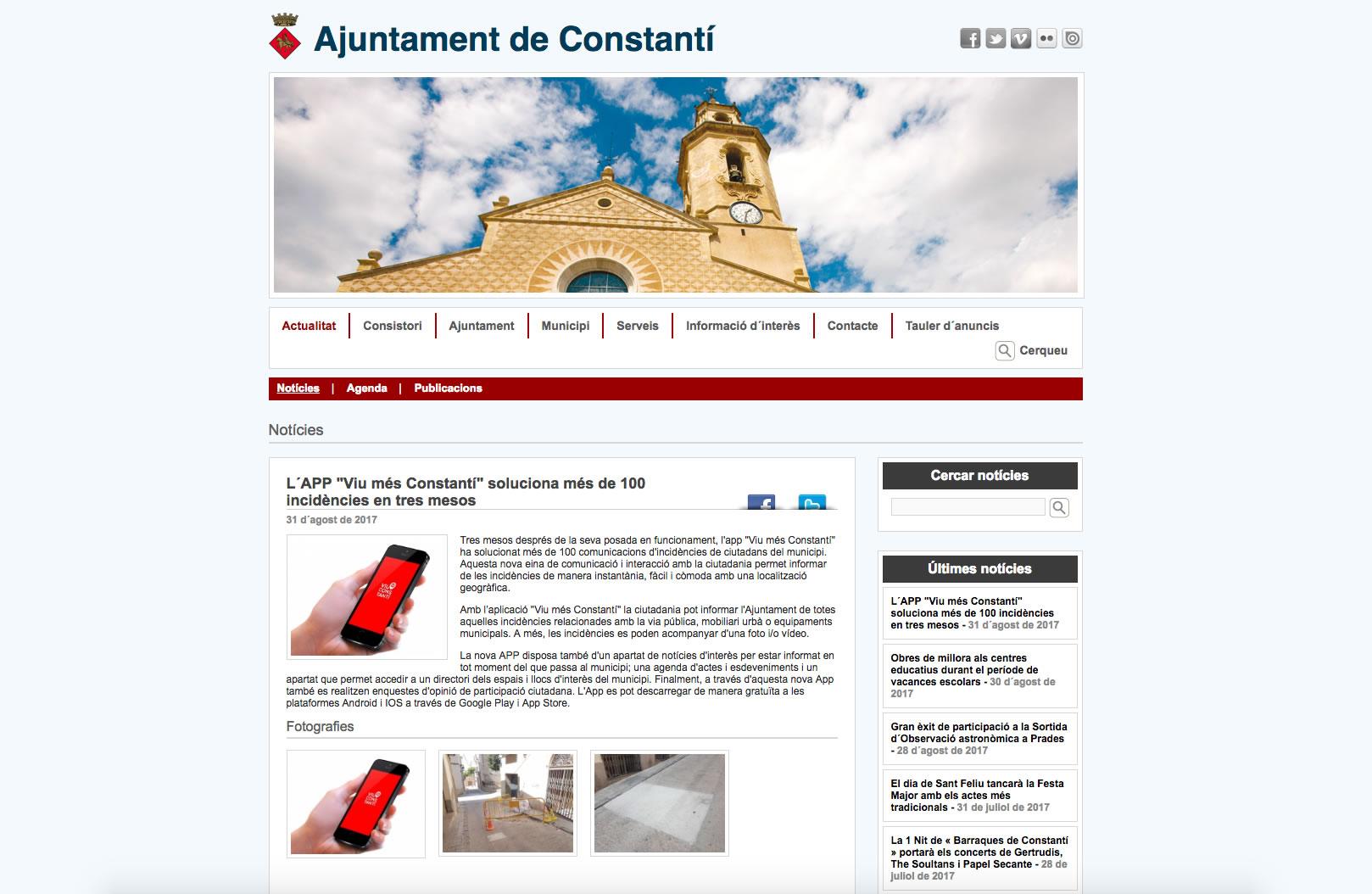 """L´APP """"Viu més Constantí"""" soluciona més de 100 incidències en tres mesos"""